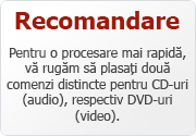 Va rugam sa plasati doua comenzi diferite pentru CD-uri/DVD-uri.